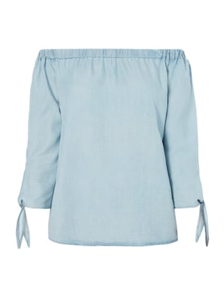 Off Shoulder Blusenshirt in Denimoptik Blau / Türkis - 1