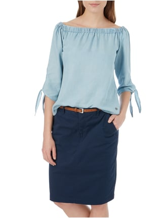 Only Off Shoulder Blusenshirt in Denimoptik Hellblau - 1