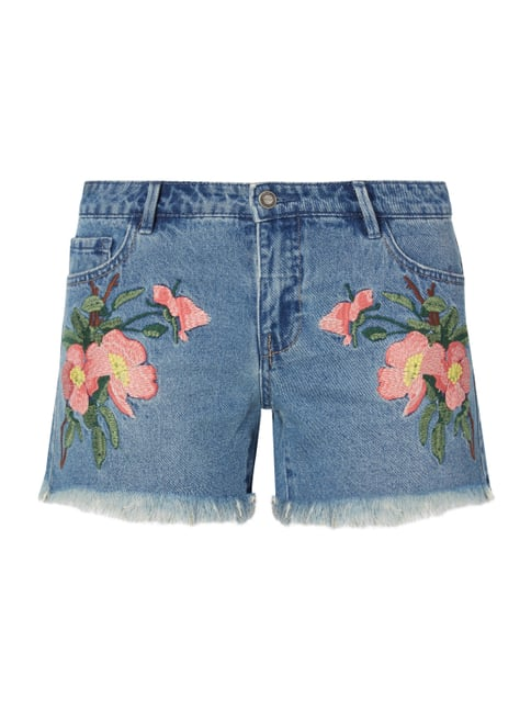 Regular Fit Jeansshorts mit floralen Stickereien Blau / Türkis - 1