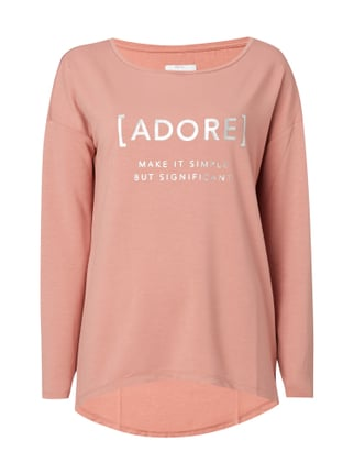 Shirt mit Message-Print in Metallicoptik Rosé - 1