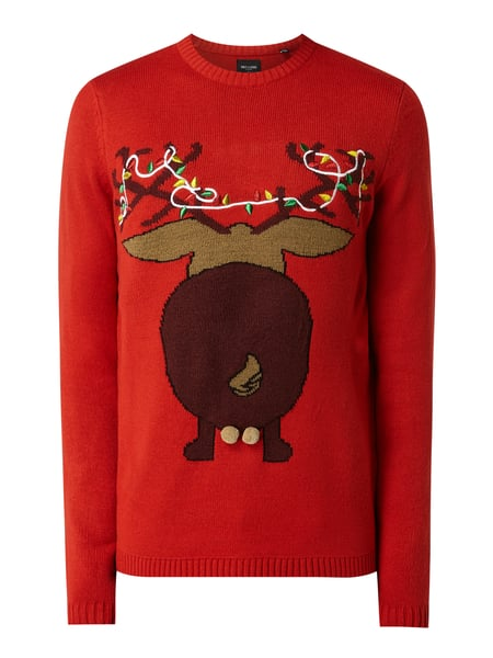 Only & Sons Pullover mit Weihnachtsmuster Rot - 1