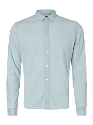 Slim Fit Jeanshemd mit Button-Down-Kragen Blau / Türkis - 1