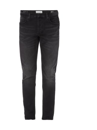 Stone Washed Slim Fit Jeans Grau / Schwarz - 1