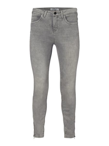 Only Stone Washed Skinny Fit 5-Pocket-Jeans Mittelgrau