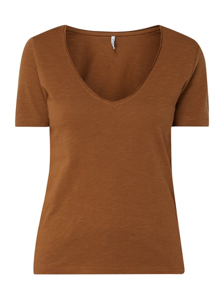 Only T-Shirt aus Organic Cotton Braun - 1