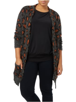 OPEN END PLUS SIZE - Cardigan mit Leopardenmuster Dunkelgrau - 1