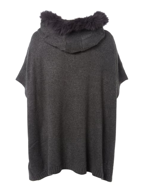 OPEN END PLUS SIZE - Poncho mit Details im Zopfstrick Anthrazit - 1