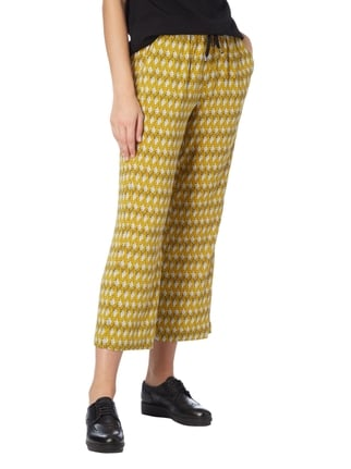 Opus Easy Pants mit Allover-Muster Senfgelb - 1
