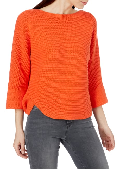 Oui Pullover mit Cut Out am Saum Neon Rot - 1