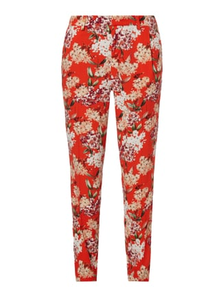 Stoffhose mit floralem Muster Rot - 1