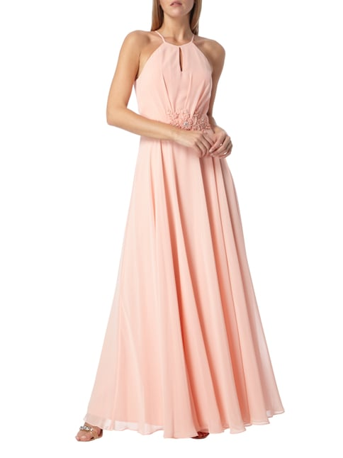 Paradi Abendkleid mit Blüten-Applikation in Rosé - 1