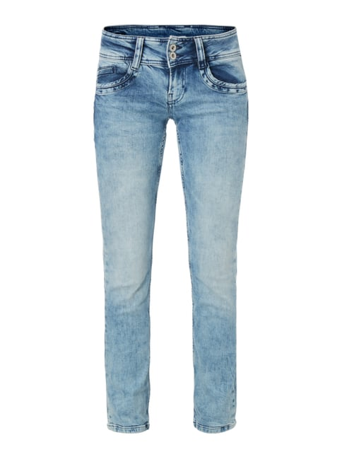Bleached Mid Rise Straight Fit Jeans Blau / Türkis - 1