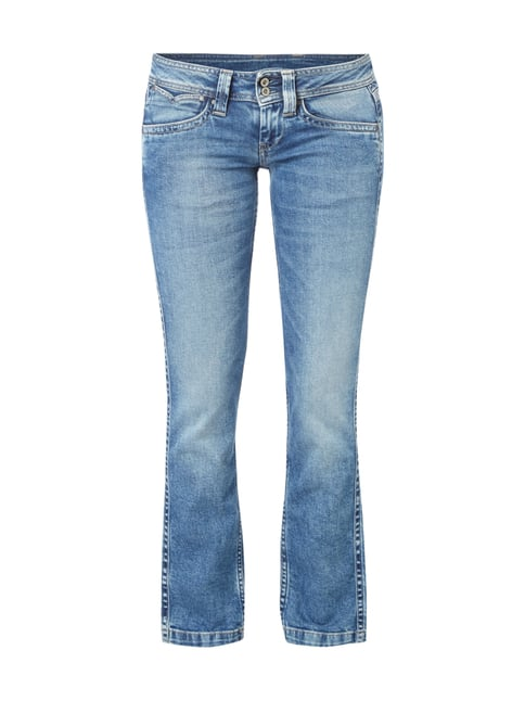 Double Stone Washed Bootcut Jeans Blau / Türkis - 1