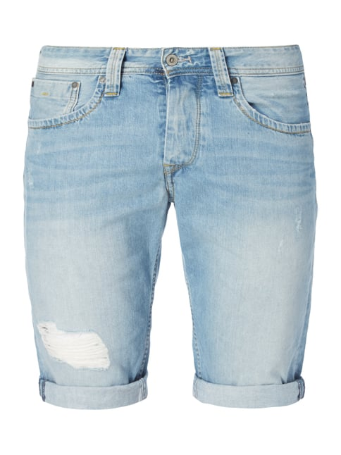 Regular Fit Jeansshorts im Destroyed Look Blau / Türkis - 1