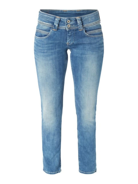 Stone Washed Regular Fit Jeans mit Stretch-Anteil Blau / Türkis - 1