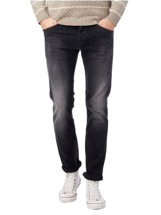 Pepe Jeans Stone Washed Slim Fit Jeans mit Knopfleiste Schwarz - 1