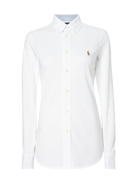 POLO-RALPH-LAUREN Bluse aus Piqué mit Button-Down-Kragen in Weiß ... 69515a6a49