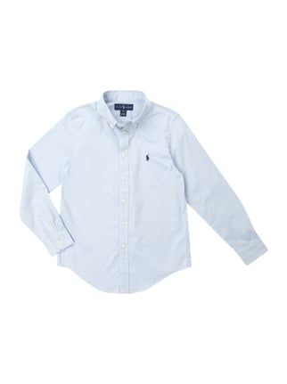 Custom Fit Hemd mit Button-Down-Kragen Blau / Türkis - 1