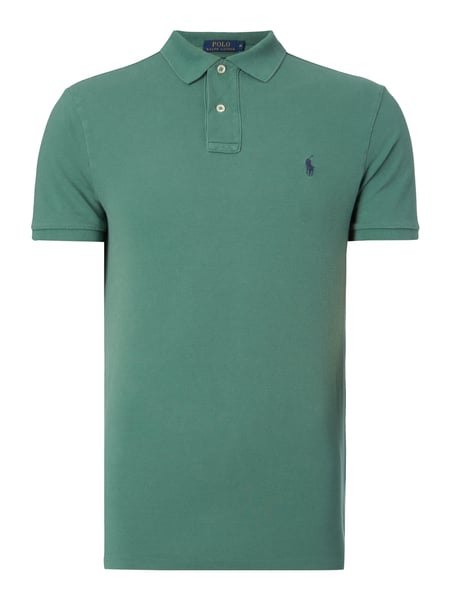 e3355c0b47afbb POLO-RALPH-LAUREN Custom Fit Poloshirt mit Logo-Stickerei in Grün ...