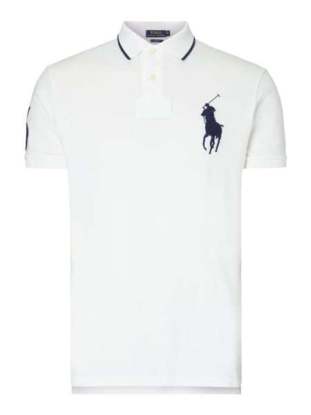 POLO-RALPH-LAUREN Custom Fit Poloshirt mit Logo-Stickerei in Weiß ... 4d5afe8351
