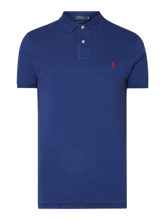 Polo Ralph Lauren Custom Slim Fit Poloshirt mit Logo-Stickerei Blau - 1