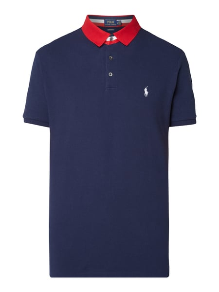 Polo Ralph Lauren Custom Slim Fit Poloshirt mit Logo-Stickerei Marineblau