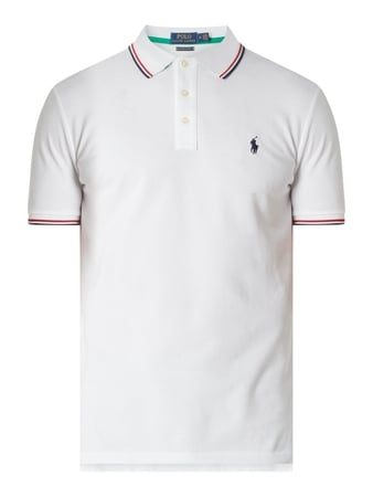 Polo Ralph Lauren Custom Slim Fit Poloshirt mit Logo-Stickerei Weiß - 1