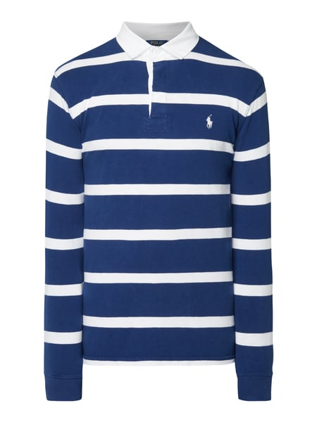 Polo Ralph Lauren Custom Slim Fit Rugby-Shirt mit Blockstreifen Marineblau