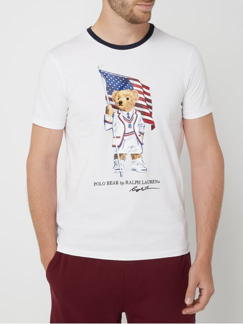 d31e93b76 ... Polo Ralph Lauren Krój custom slim fit z nadrukiem Polo Bear Biały - 1