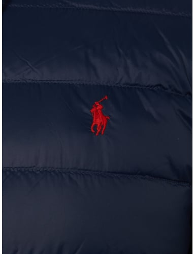 polo ralph lauren light daunenjacke mit kapuze in blau. Black Bedroom Furniture Sets. Home Design Ideas