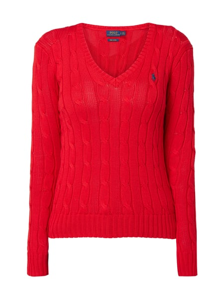 polo ralph lauren pullover mit zopfmuster in rot online. Black Bedroom Furniture Sets. Home Design Ideas