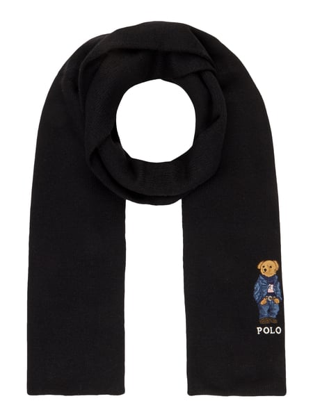 100% quality new style lowest price Polo Ralph Lauren – Schal mit Polo Bear-Stickerei – Schwarz