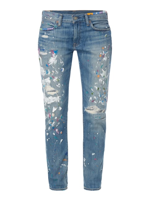 Slim Boyfriend Fit Jeans im Destroyed Look Blau / Türkis - 1