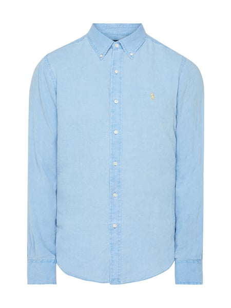 Polo Ralph Lauren Slim Fit Leinenhemd Blau - 1