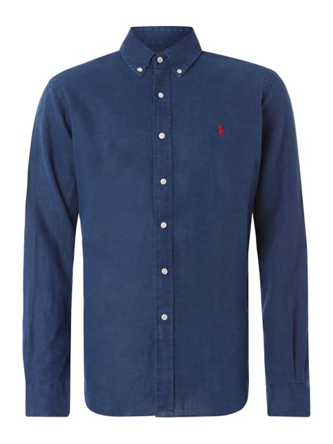 Regular Fit Leinenhemd mit Button-Down-Kragen Blau / Türkis - 1