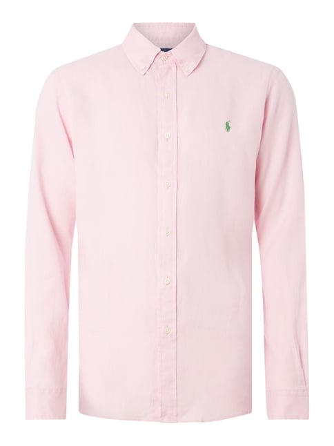 Slim Fit Leinenhemd mit Button-Down-Kragen Rosé - 1