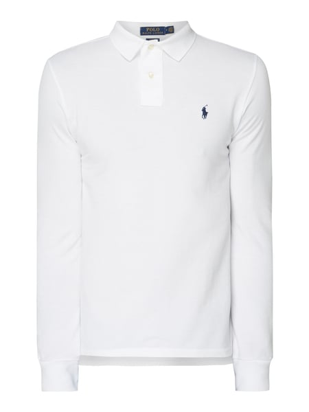bc7cd9877797ba low price polo ralph lauren slim fit poloshirt mit langen Ärmeln weiß 1  da4cd bd405