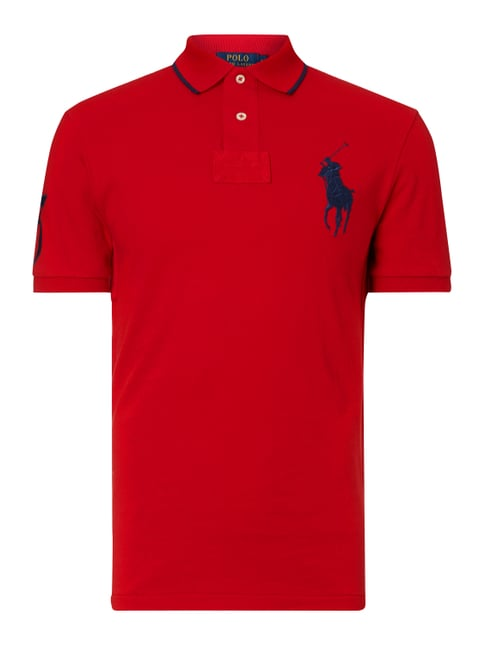 Slim Fit Poloshirt mit Logo-Stickerei Rot - 1