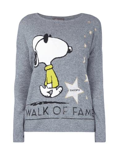 princess goes hollywood pullover mit snoopy print in grau schwarz. Black Bedroom Furniture Sets. Home Design Ideas
