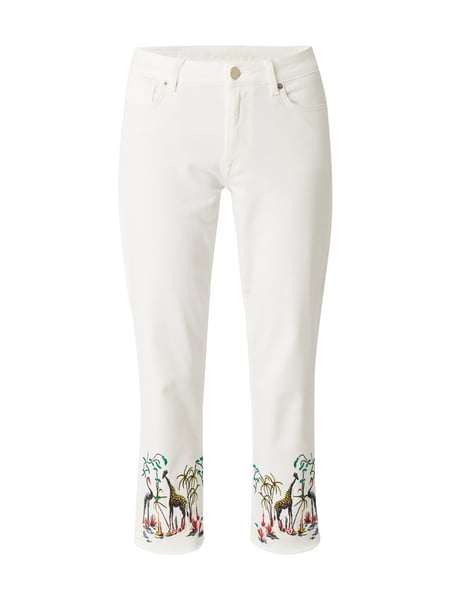 Raffaello Rossi Dara Tropical - Coloured Cropped Jeans mit Stickereien Offwhite