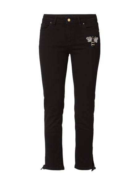 Raffaello Rossi Amanda - Coloured Skinny Fit Jeans mit Bienen-Applikation Schwarz