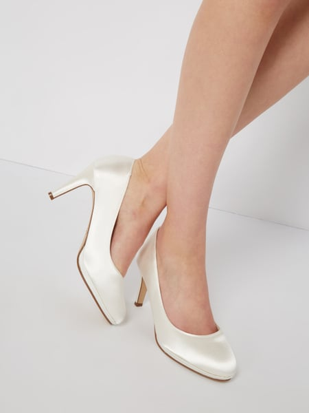 Rainbow Bibi - Pumps aus Satin Offwhite