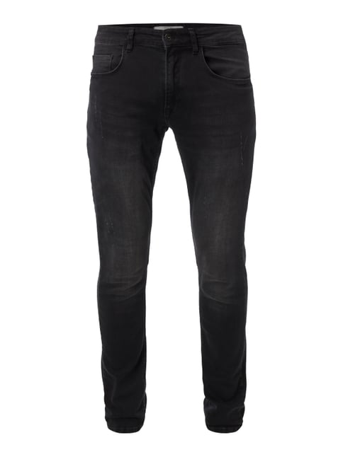 Slim Fit 5-Pocket-Jeans im Used Look Grau / Schwarz - 1