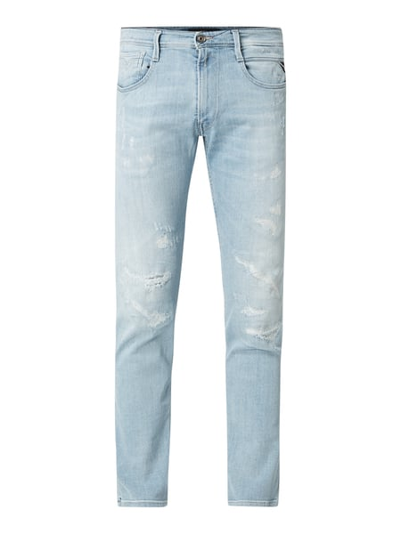 Replay Slim Fit Jeans im Destroyed Look Modell 'Anbass' Blau - 1