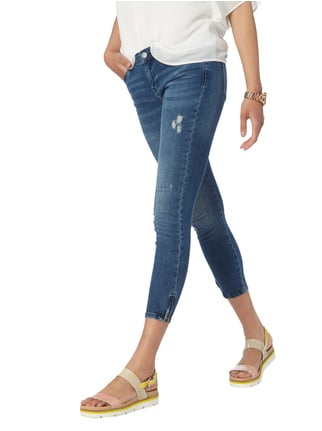 REVIEW Ankle Cut Jeans im Destroyed Look Dunkelblau - 1