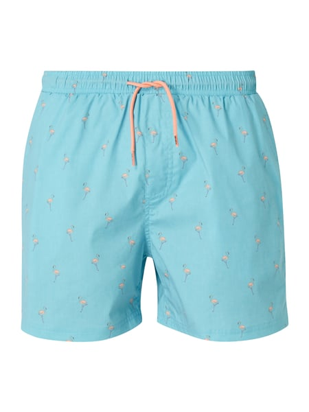 REVIEW Badeshorts mit Allover-Muster Ozean Blau
