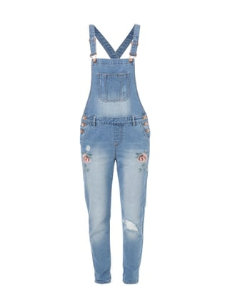 Boyfriend Fit Jeanslatzhose im Destroyed Look Blau / Türkis - 1