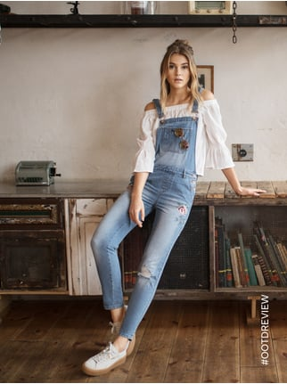 REVIEW Boyfriend Fit Jeanslatzhose im Destroyed Look Jeans - 1