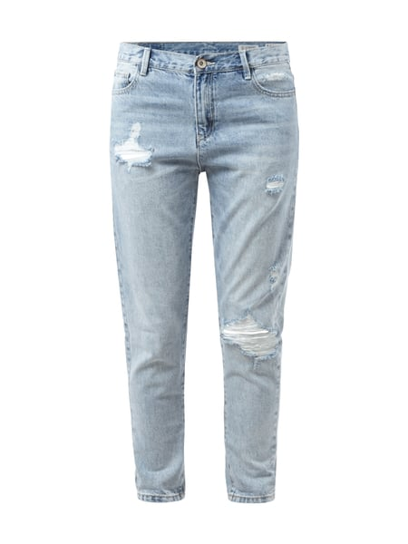 REVIEW Boyfriend Jeans im Destroyed Look Blau - 1