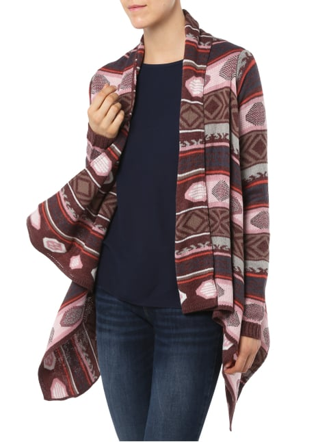 REVIEW Cardigan mit Ethno-Muster Bordeaux Rot - 1